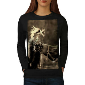 Wellcoda Horse Kiss Nature Womens Long Sleeve T-shirt, Funny Casual Design
