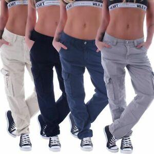 Damen Boyfriend Jeans cargohose Worker Arbeits hose übergrößen Cargojeans B087