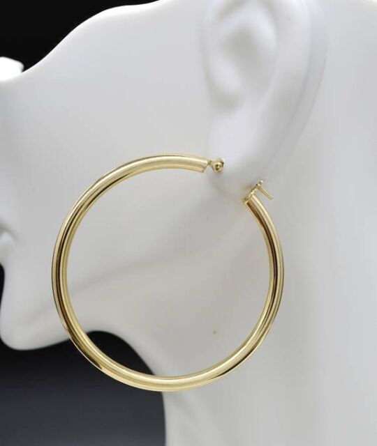10KT GOLD POLISHED HOOPS 3//15MM HOOP EARRINGS