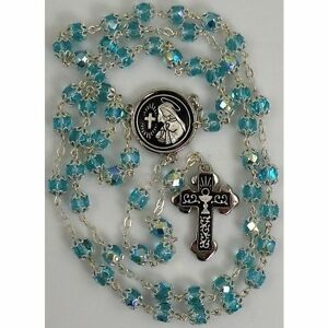 Damascene-Silver-Rosary-Cross-Virgin-Mary-Teal-Beads-by-Midas-of-Toledo-Spain