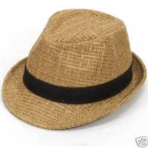 Image is loading men-women-FEDORA-hats-cap-straw-vintage-NWT- 0a7a2b8f18fe