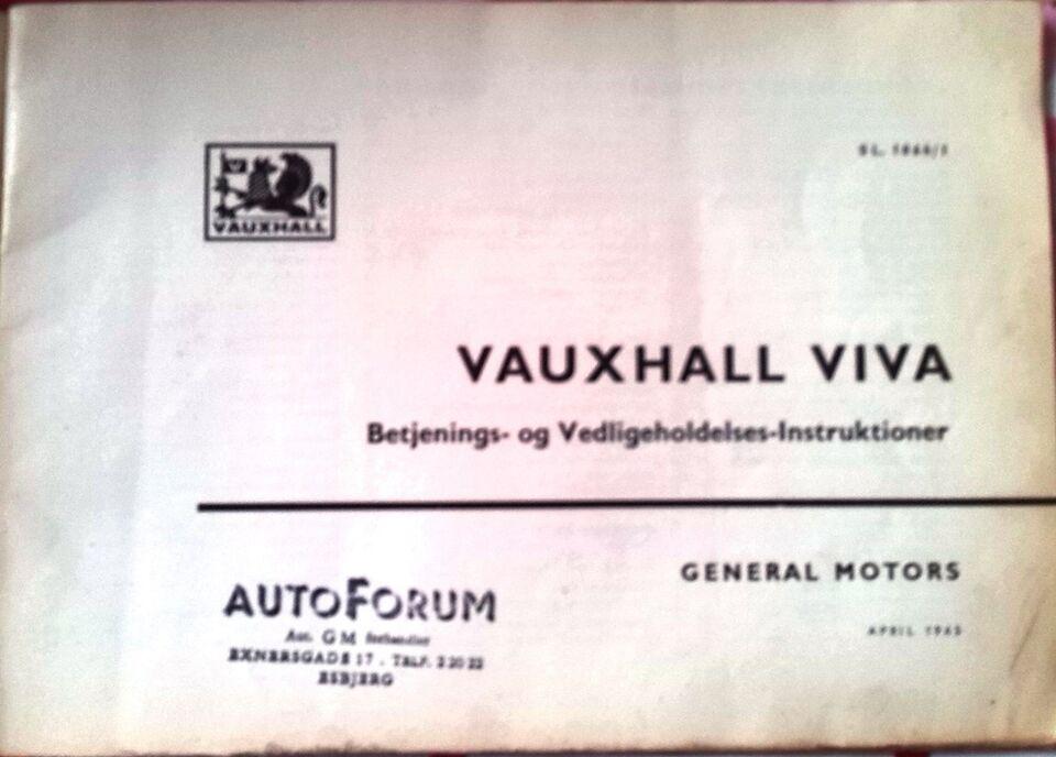 Instruktionsbog, Vauxhall Viva