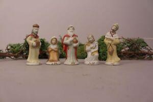 Krippenfiguren-Set-Maria-Josef-alt-antik-Handarbeit-Handbemalt-Weihnachten