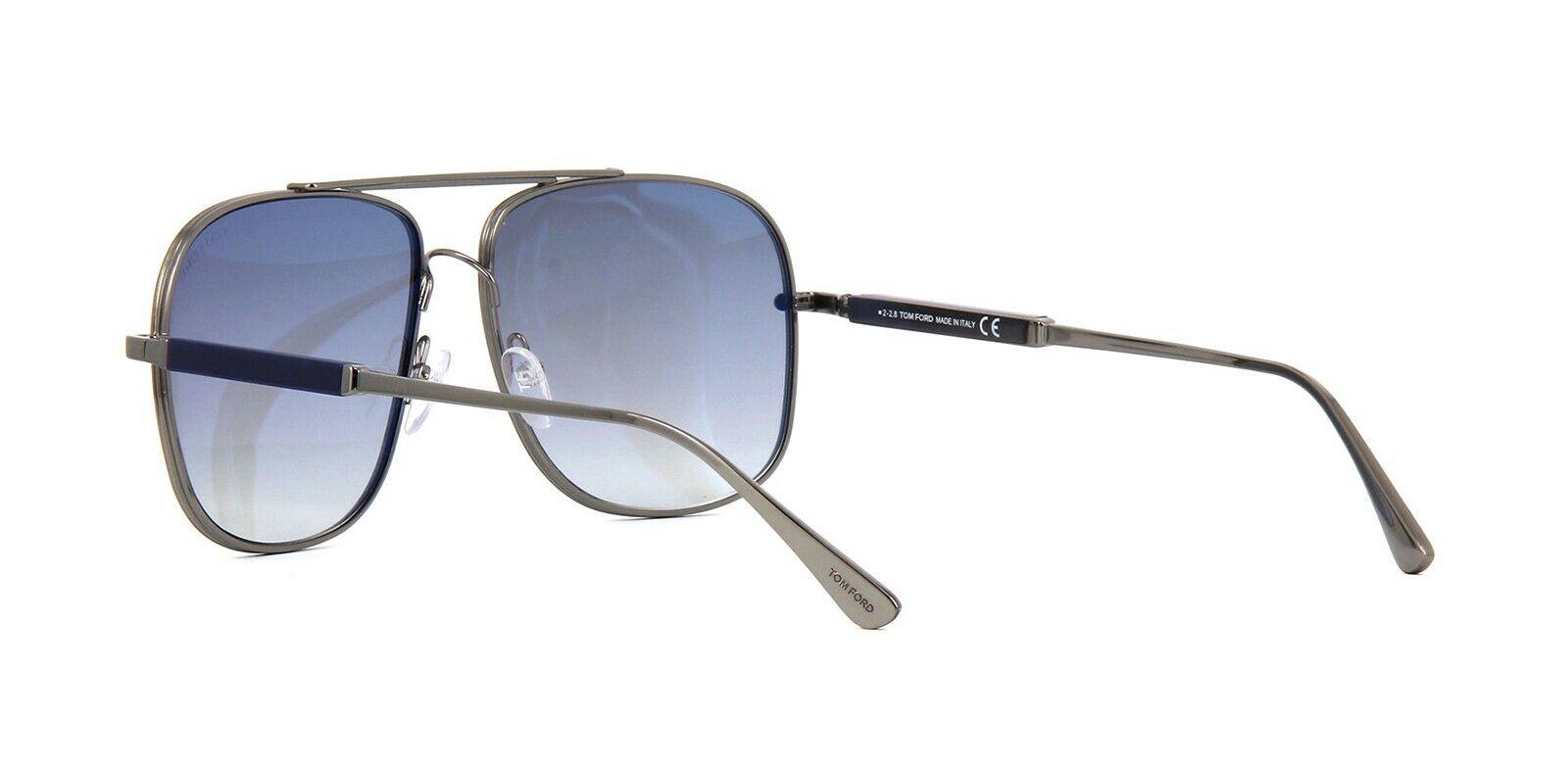 Tom Ford JUDE FT 0669 Dark Ruthenium//Blue Shaded Sunglasses 12W