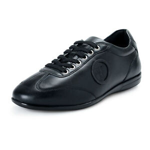 Versace-Collection-Men-039-s-Black-Leather-Fashion-Sneakers-Shoes-8-9-10-11-12