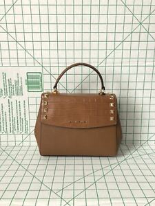 85bb31f9a084 Image is loading Michael-Kors-Karla-Medium-Top-Handle-Embossed-Leather-
