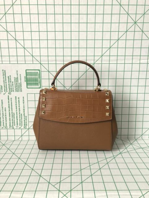 a66aca2c41fad Michael Kors Karla Medium Top Handle Embossed Leather Satchel Crossbody  Luggage
