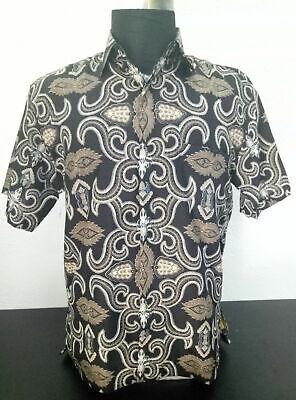 Men/'s Batik Asna SBB Shirt Solo Indonesia Black Floral Casual Long Sleeve
