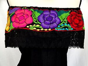 Details about Embroidered Mexican Blouse Floral Women Oaxaca Gauze Plus sz  5 de Mayo vtg NWT