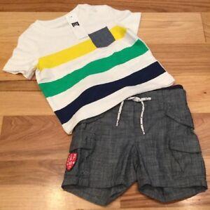 Baby-Gap-Boys-6-12-Months-Outfit-Stripe-Shirt-amp-Lightweight-Blue-Shorts-Nwt