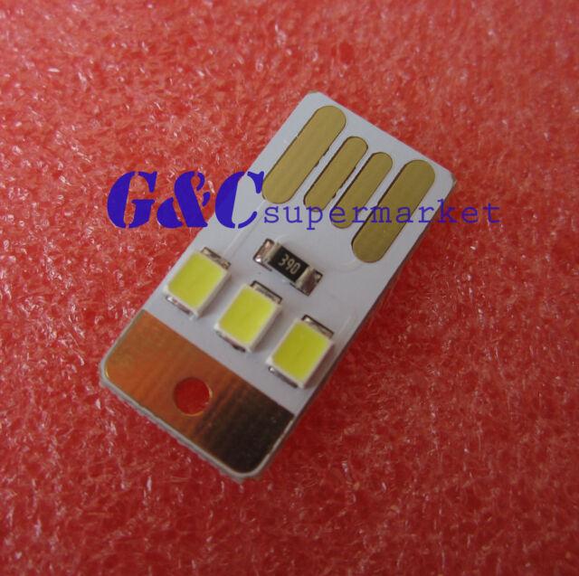 50Pcs Mini White LED Night Light Pocket Card Lamp Led Keychain Portable USB M36