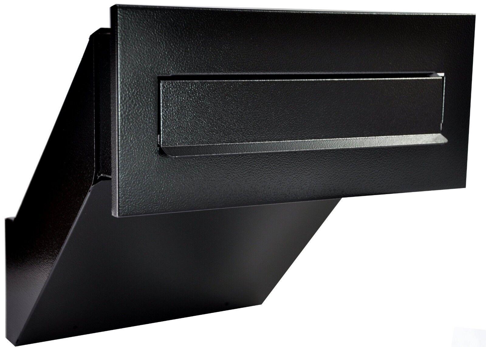 Mauerdurchwurf Briefkasten Einbaubriefkasten Schwarz Antik + Aufschrift
