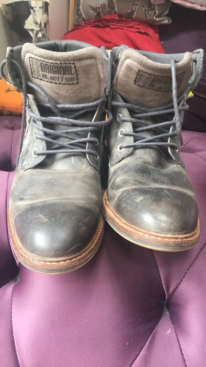 Eram Brand, French Hand Crafted Grey Leather Boots Size 8 - Steampunk