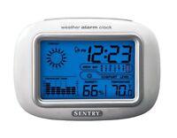 Sentry Big Blue Screen Calendar Forecast Moon Phase Weather Alarm Clock Cl933