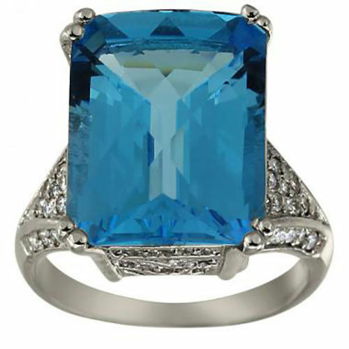 bluee Topaz Ring 14k White gold Ornate Gallery & Pave Diamond Accents Size Able