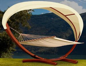 h ngematte mit gestell und dach 405cm sonnenliege. Black Bedroom Furniture Sets. Home Design Ideas