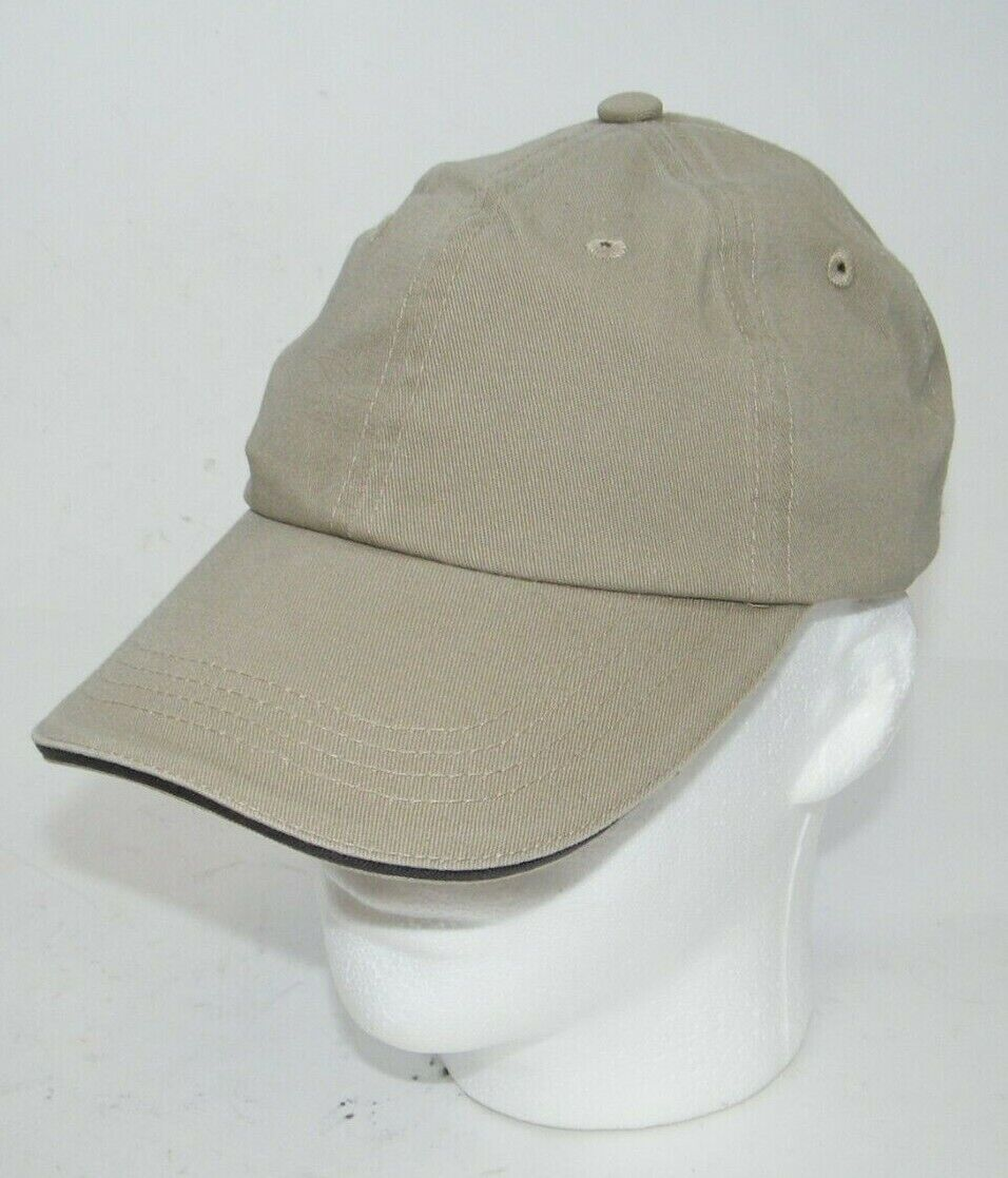 (7) PORT AUTHORITY KHAKI WITH GRAY STRIPE CLOSURE C830 SANDWICH BILL CAPS HATS