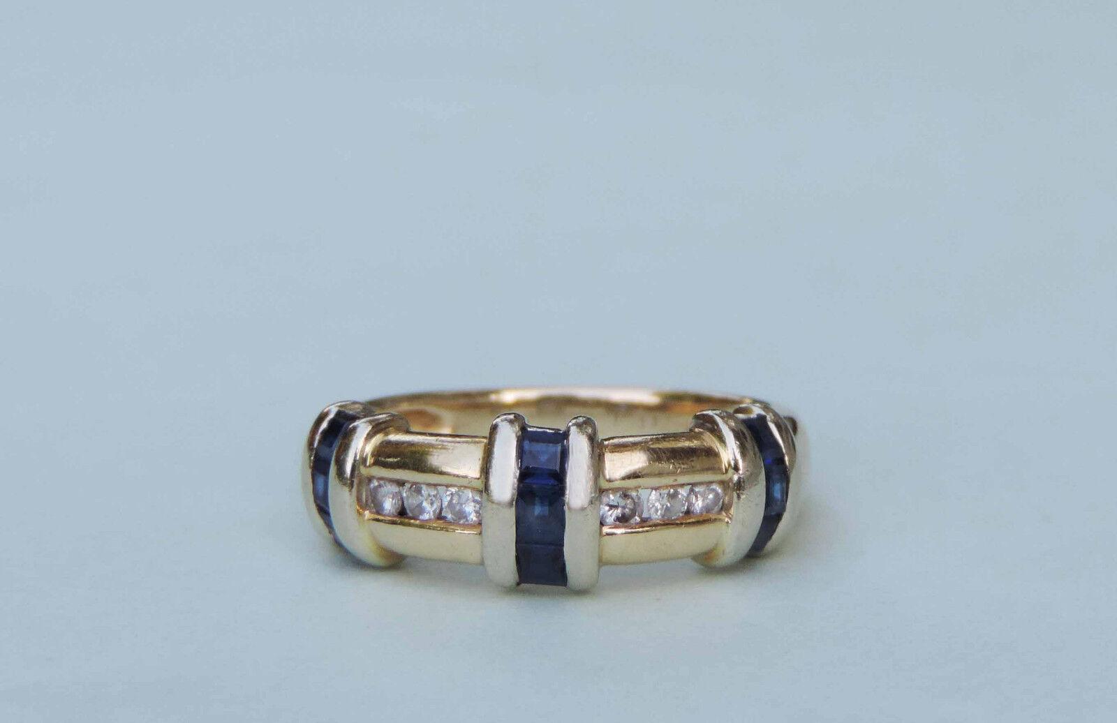 Man made square blue sapphire gemstone ring w 6 diamonds for Man made sapphire jewelry