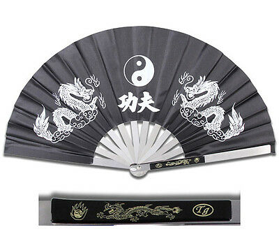 New Heavy Duty Steel Black Dragon Kung Fu Tai Chi Fan