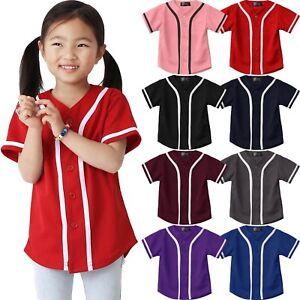 Kids-T-Shirts-Baseball-Jersey-Stripe-School-Plain-Toddler-Boys-Girl-Team-Tee