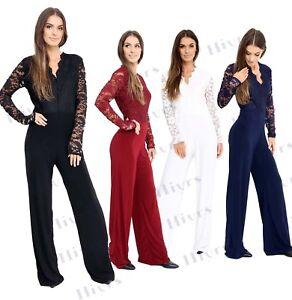 8850d3f3496 Womens Lace Jumpsuit Long Sleeve playsuit Top Slinky lot Plus size ...