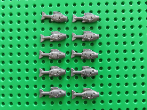 Lego 10 x Fisch Fische 64648  flat silber grau