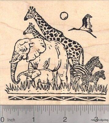 Adorable Giraffe Rubber Stamp Mounted Wood Block Art Stamp