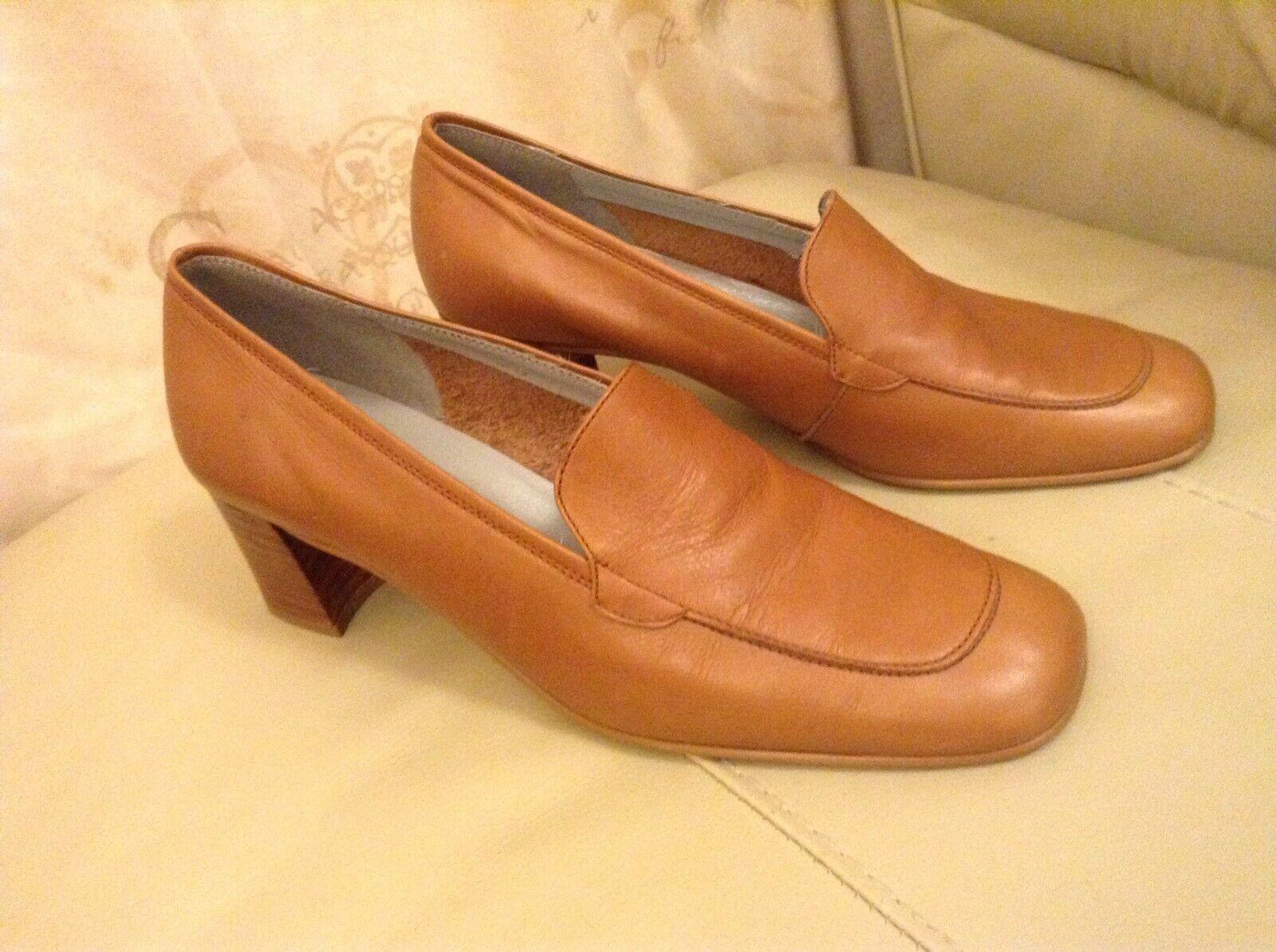 New Renatta JopSize 39  40 ( UK Size 6 To 6.5) Tan Leather Block Heel shoes