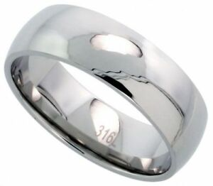 Men-039-s-Comfort-Fit-Stainless-Steel-Size-10-Wedding-Band-8mm-Polished-Finish-C30