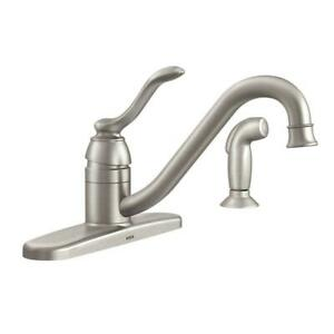 Moen-Banbury-Stainless-Single-Handle-Kitchen-Faucet-w-Side-Sprayer