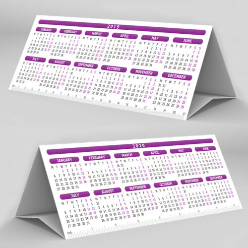 LAMINATED Desktop Calendar Planner StandUp Tent Card 2 Years ✔2019 ✔2020 ✔PURPLE