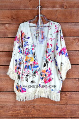 OFF WHITE 62 Floral FRINGE CARDIGAN Print Jacket Kimono Vintage BOHO S M L XL