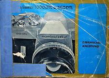 Mamiya/Sekor 1000DTL & 500DTL Gebrauchsanleitung / Manual - Deutsch - (81734)