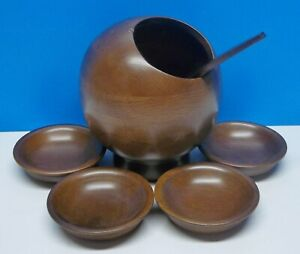 VTG-MCM-Atomic-Hellerware-Wood-6-Piece-Nut-Rice-Dish-Serving-Set-Bowl-Spoon-Orb