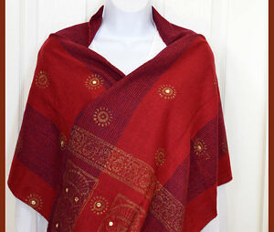Cotton-hand-made-Hand-Woven-Mirror-Work-Stole-Wrap-Burgundy-Red-India