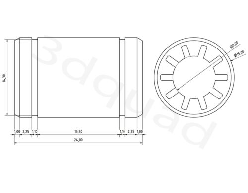Gleitlager linear bearing Igus 8mm Linearlager Linearführung für 3d Drucker
