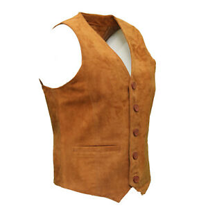 Mens Soft Tan Leather Waistcoat Classic Casual Formal Traditional Gilet Vest NEW