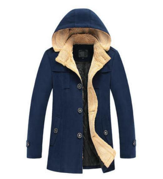 Mens Hooded Wool Blend Trench Peacoat Slim Fit Winter Warm Trench Coat Casual NW
