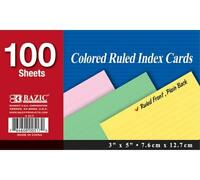 Bazic 100 Ct. 3 X 5 Ruled Colored Index Card (case Of 36), New, Free Shipping