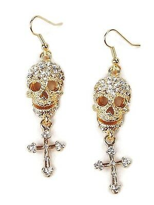 Skull and Cross Paved Crystals Gold Plated Pierced Dangle Earrings
