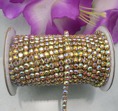 applique Crystal yellow AB crystal rhinestone compact close Golden chain trims