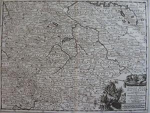 Qualifié Carte Du Cercle De La Haute Saxe, Allemane, Originale De 1736