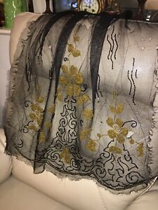 Antique-Black-Tulle-1920s-Beading-Embroidered-Silk-Salvage-Textiles-Floral