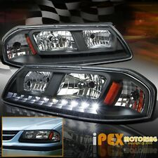 NEW For 2000-2005 Chevy Impala Base / LS LED DRL Black Headlights Headlamps