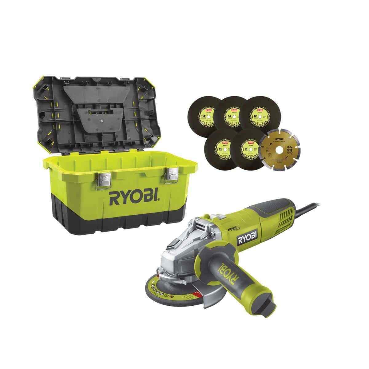 Schleifer Ryobi Winkel 1010W 125mm - 1 Koffer mit Aufbewahrungsbox