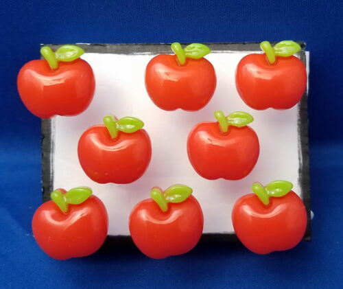 APPLE FRUIT Teacher Handmade Decorative Push Pin Thumb Tacks Set of 8