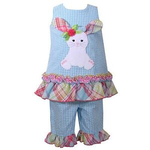 New-Toddler-Girl-Bonnie-Jean-Seersucker-EASTER-Bunny-Tunic-Capri-Set-SZ-2T-3T-4T