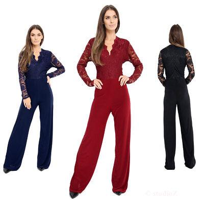 Women Plus Size Evening Party Playsuit Ladies Lace Long Sleeve Jumpsuit 16-24