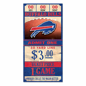 Buffalo-Bills-Old-Game-Ticket-Holzschild-30-cm-NFL-Football-Wood-Sign