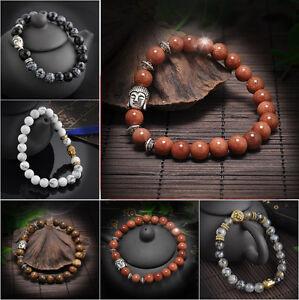 Fashion-Men-Women-Natural-Lava-Rock-Gemstone-Beads-Bracelet-Buddha-Head-Beaded